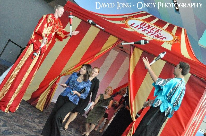 Stiltwalking Juggler_Fancy Carnival Tent Entrance